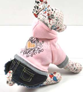 Pink Hoodie Coat Dog Dress Denim Jeans Skirt Any Size