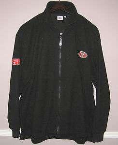 Mens NFL Black Zipper Fleece Jacket Size XL