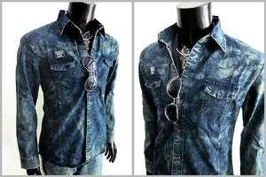 New Men Junk Western Bleach Prewashed Denim Jeans Rock longsleeve