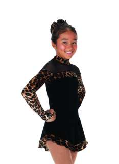 New 567 Velvet Leopard Black Skating Dress Youth