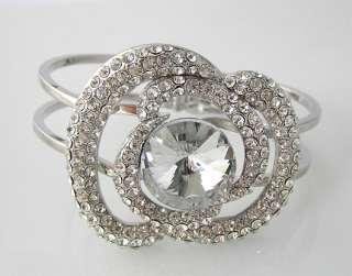 Floral Bracelet Bangle Cuff W swarovski crystal B085