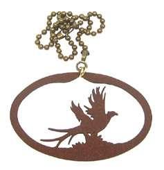 Pheasant rust colored metal ornament/fan pull