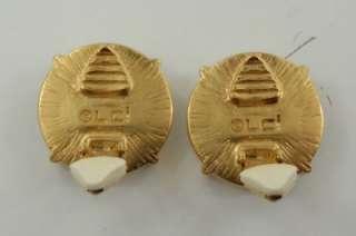 LCI LIZ CLAIBORNE EARRINGS GOLD TONE CLIP BIG CRYSTAL