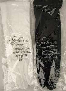 100% Cotton Long WHITE BLACK Gloves NEW Vintage X LARGE