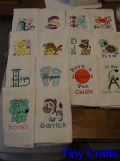 12 Personalized Burp Cloths Custom Baby or Shower Gift YOU choose