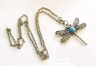 Bronze Cute Dragonfly Green Stone Fashion Necklace Z1046