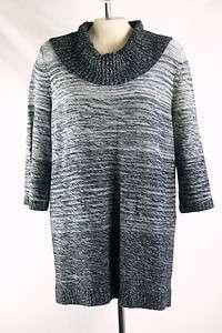 Co. NEW Plus Size 1X/14W/16W Black/Grey Knit Sweater Top Cowl Neck NWT