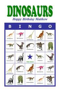 Dinosaurs Birthday Party Game Bingo Cards
