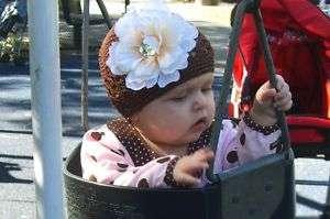 Crochet Flower Beanie Hat Cap newborn baby big girl