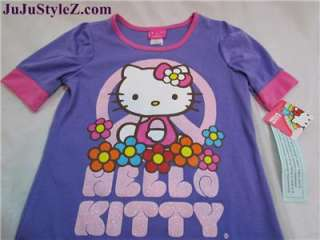 Hello Kitty Girls Purple Glitter T Shirt Top Size M L XL NWT