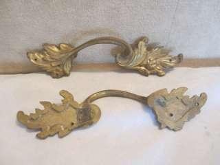 French Provincial Ormolu Gilt Bronze Cast Drawer Pulls Acanthus Leaf