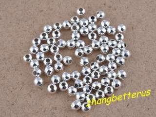 500 Pcs Silver Plated Round Spacer Loose Beads Charms Findings 4mm