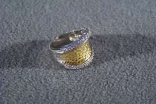 ESPOSITO STERLING SILVER GOLD CUBIC ZIRCONIA WIDE CIGAR BAND RING 5
