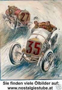 Mercedes 1908 Oldtimer Gemälde Luis Sporeni Bregenz Classic Car
