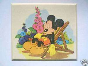 Mickey Mouse Sleeping Vintage 1940s Disney print RARE