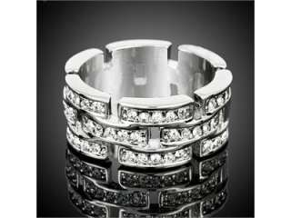 Wedding Band Ring White GP Swarovski Crystal R657W