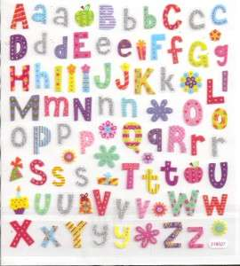 Colorful Alphabet letter stickers w/ silver glitter