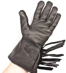 Napa Deerskin Leather Motorcycle Biker Gauntlet Fringe Gloves