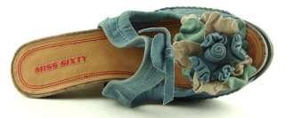 MISS SIXTY TAMARA Blue Jeans Womens Platform Espadrille Wedges 8.5 EUR