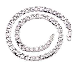Mens 18k White Gold Filled Italina Curb Link Necklace Bracelet Chain