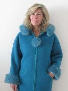 LUNDSTROM TEAL WOOL LADIES LA PARKA FAUX FUR HOODED COAT JACKET~S