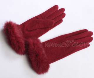 Fashion Womens Stretch knit winter warmer wool rabbit fur gloves