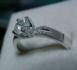 65 carat ROUND cut cz Solitaire WHITE GOLD ep Ring Sz8