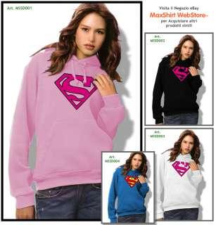 FELPA SUPERMAN DONNA FEMMINILE (ROSA Bianca Blu) UNISEX