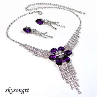 Swarovski Crystal Purple Rhinestone Necklace Set S1278V