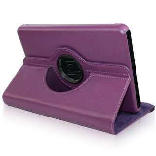 Rotating Wallet Leather Case For  Kindle Fire Film   Purple