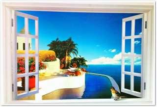3D Caribbean Sea View Window Film Wall Stickers art Mural Wallpaper