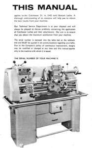 Colchester BANTAM lathe manual on CD in PDF format