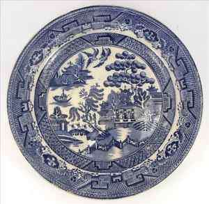 Antique Willow Pattern Warranted Crown Pottery Plate