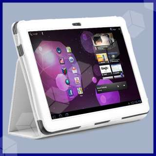 White Leather Case w/ Stand For Samsung Galaxy Tab 10.1 P7510 P7500