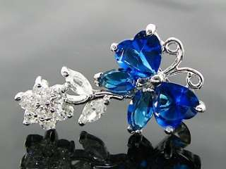 White Gold Plated Blue Brooch Hijab Sari Saree Pin Gift