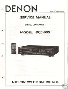 Original Denon Service Manual DCD 600 CD Player