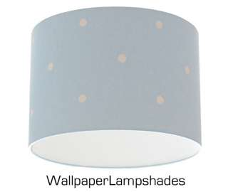 Baby Blue Polka Dot Retro Spot Wallpaper Lampshade 12