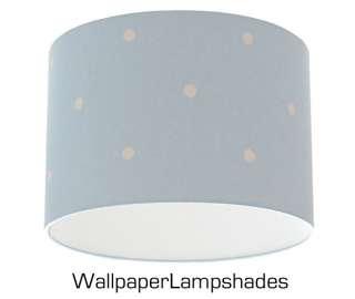Baby Blue Polka Dot Retro Spot Wallpaper Lampshade 12