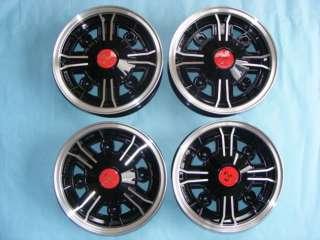 FIAT 500 F/L/R 4 CERCHI IN LEGA RUOTA R/12 EPOCA NERI COPRIMOZZO