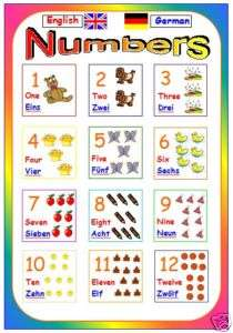 primary educational resource MFL german number poster