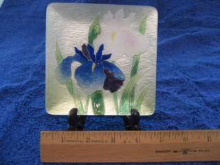 Fine Japanese Cloisonne plate w/stand   Iris theme