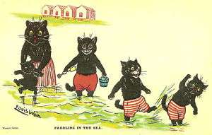 CATS PADDLING by Louis Wain MAYFAIR POSTCARDS of LONDON