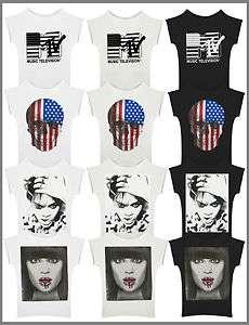 Printed T shirt Top Rihanna Jessie J MTV Ladies New sized 8 14
