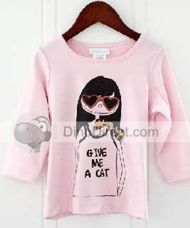 Wholesale Beautiful Girls Cotton Cartoon Print 3/4 Sleeve Round Collar