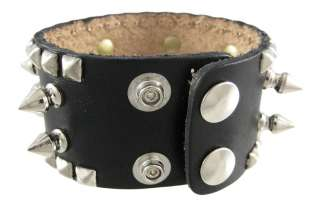 Spiked Studded Black Leather Wrist Band Wristband Color BLACK