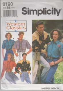 PATTERN #8190 WOMENS AND MENS WESTERN SHIRT  SIZES 42   48