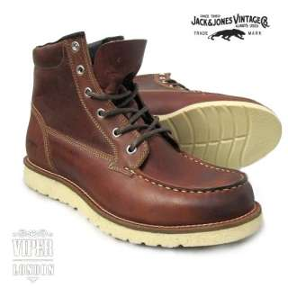 Jack & Jones Vintage Leather Logger Work Boots 8   12