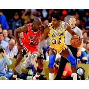 Michael Jordan & Magic Johnson 1990 Action   Chicago Bulls