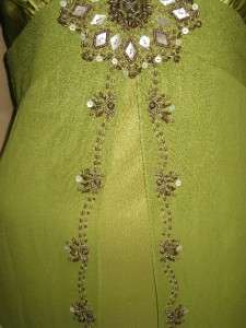 Designer Sue Wong Avocado Green Beaded Dress Evening Cocktail Wedding