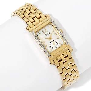 Caravelle Bulova Ladies Goldtone Diamond Bezel Bracelet Watch at HSN